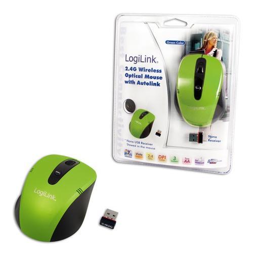 LogiLink Bezprzewodowa mysz optyczna 2.4 GHz zielona