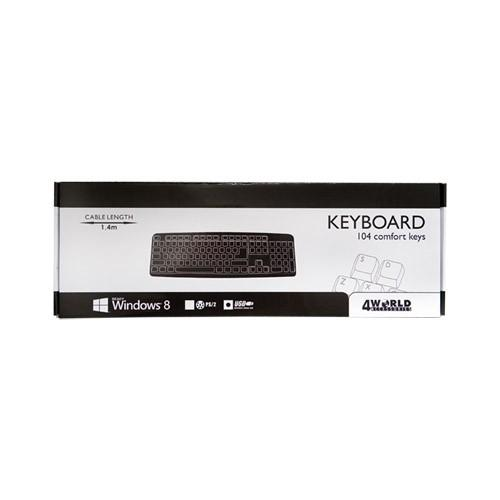 4World Klawiatura standardowa USB czarna