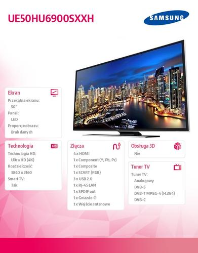 Samsung 50'' TV LED Ultra HD UE50HU6900SXXH