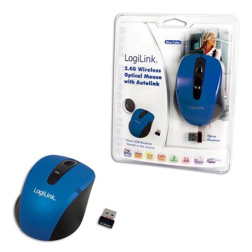 LogiLink Bezprzewodowa mysz optyczna 2.4 GHz niebieska