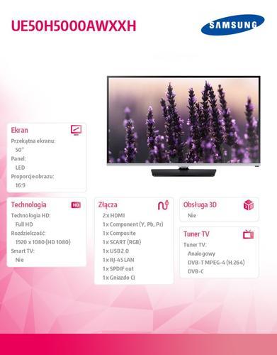 Samsung 50'' TV Slim LED Full HD UE50H5000AWXXH