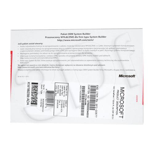 Microsoft Windows 7 Home Prem 32-bit Polish 1pk DVD OEM