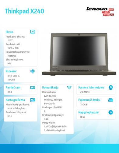 "Lenovo Thinkpad X240 20AL008EPB Win7Pro & Win8Pro i5-4300U/8GB/SSD 180GB/Integrated/N-Optical/12.5"" HD IPS Black Ericsson N5321"