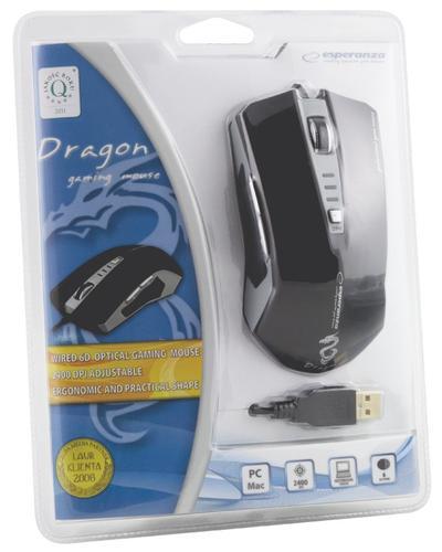 ESPERANZA MYSZ DLA GRACZY EM122K USB, 6D, DPI 2400 DRAGON