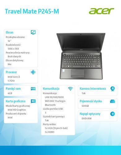 "Acer Travel Mate P245-M 14""/i3-4010U/4GB/500GB/WiFi abgn/Bluetooth/DVD RW/Win7 Prof (Win8 Prof)"