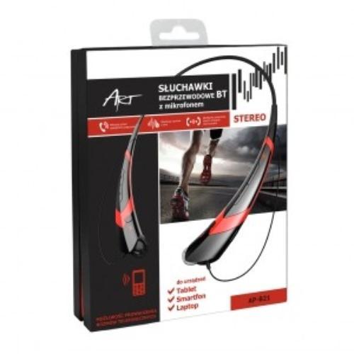 ART Słuchawki z mikrofonem AP-B21 czarne/czerwone (RING)sport