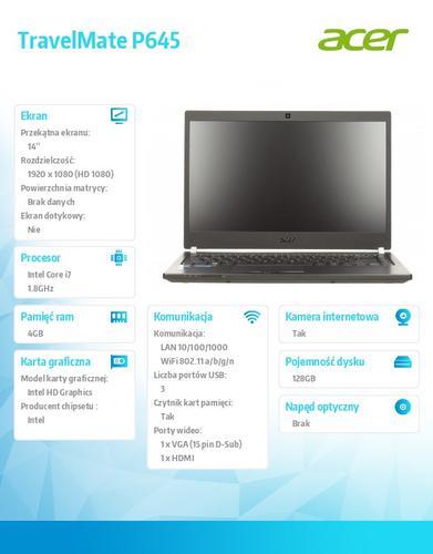"""Acer TravelMate P645-M 14"""" FHD/i7-4500U/4GB/128GB SSD/Intel HD/Win7P/Win8.1P"""