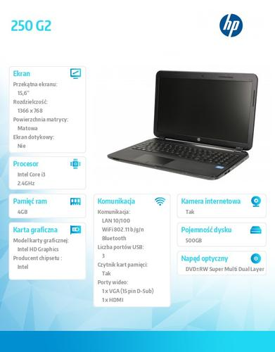 HP 250 G2 i3-3110 W8H 500/4G/DWRW/15,6 F0Y60EA