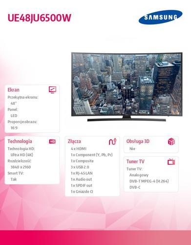 "Samsung 48"" TV Slim LED Curved Ultra HD UE48JU6500WXXH"