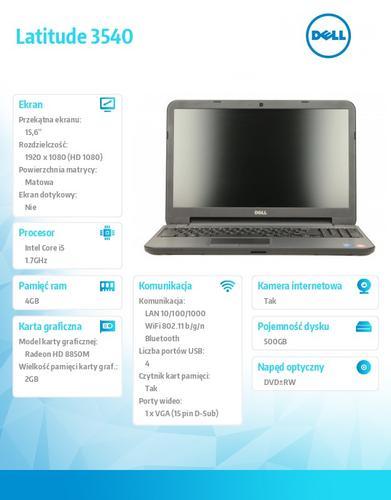 """Dell Latitude 3540 Ubuntu i5-4210U/500+8GB SSHD/4GB/HD 8850M/15""""FHD/6Cell/3YNB"""