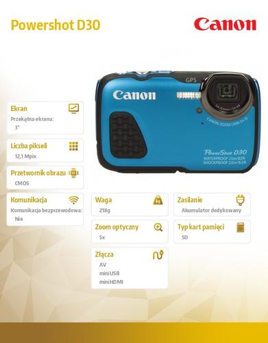 Canon Powershot D30 BLUE 9337B011AA