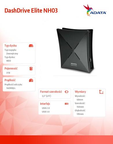 A-Data DashDrive Elite NH03 3TB 3.5'' USB3.0 czarny