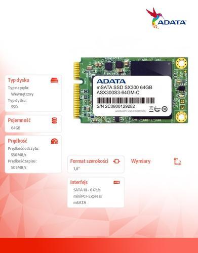 A-Data SSD XPG SX300 64GB mSATA3 SF2281 550/485 MB/s
