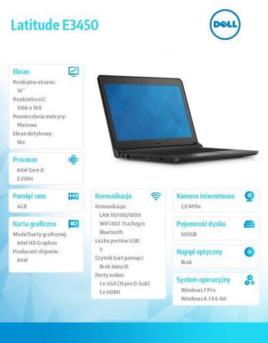 "Dell Latitude E3450 Win78.1(64-bit win8, nosnik) i5-5200U/500GB/4GB/BT4.0/3-cell/Office 2013 Trial/Integrated HD4400/KB-Backlit/14""HD/3Y NBD"