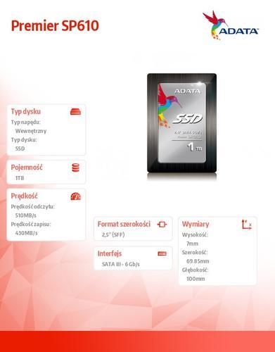 A-Data SSD Premier SP610 1024GB 2.5'' SATA3 SMI Sync 560/450 MB/s