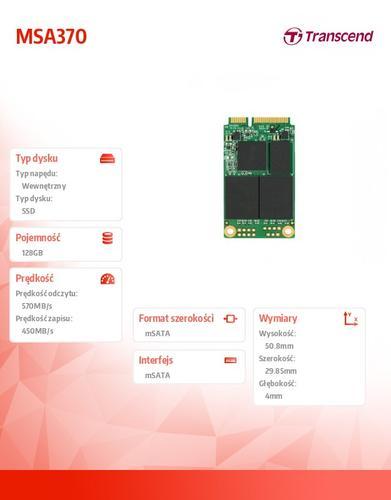 Transcend SSD 370 128GB SATA3 mSATA 570/450 MB/s