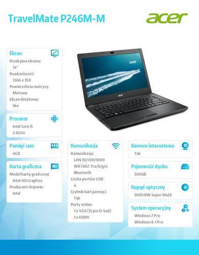 """Acer TravelMate P246M-M-56BX Win7Pro (Win8.1Pro) i5-4210M/1*4GB/500GB/IntelHD/DVD RW/WiFi abgn/BT/14"""""""