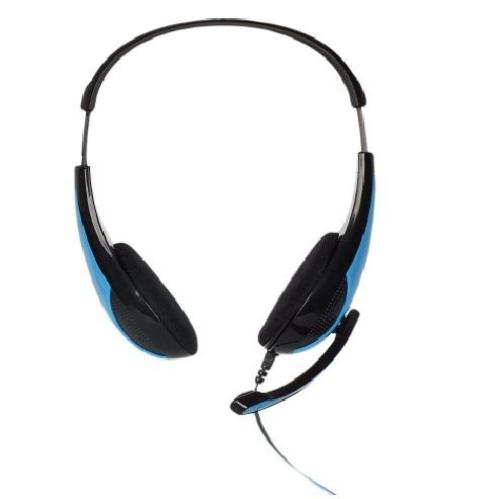 4World Słuchawki kabel 2,2m mikrofon czarno-niebieskie