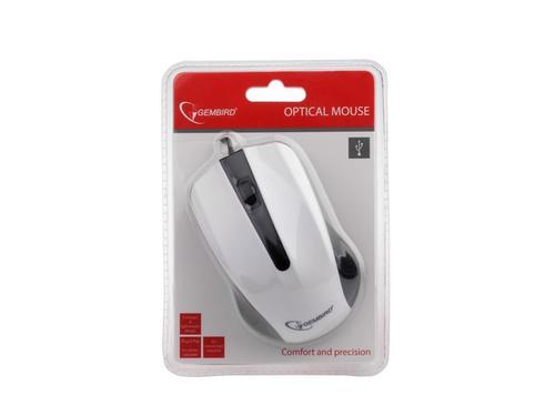 GEMBIRD Mysz OPTO 1-SCROLL USB (MUS-101-W) Black/White