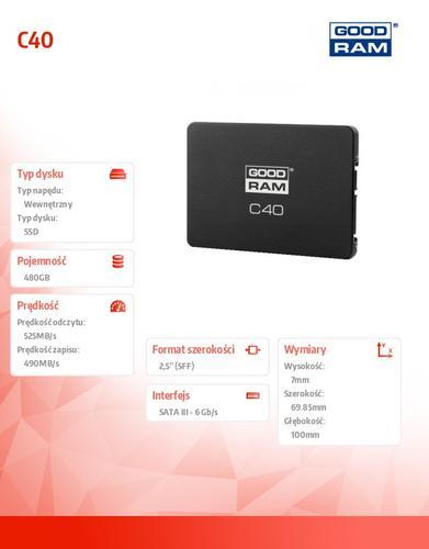 GoodRam SSD C40 480GB SATA3 2,5 525/490 MB/s 7mm