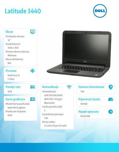 """Dell Latitude 3440 Win78.1(64-bit Win8, nośnik) i3-4010U/500GB/4GB/4-cell/DVD+/-RW/Integrated HD4400/14.0"""" HD/3Y NBD"""
