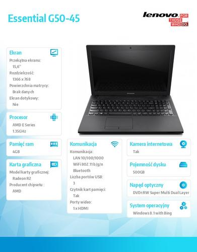 """Lenovo G50-45 80E3015QPB Win8.1 Bing E1-6010/4GB/500GB/UMA/15.6"""" Black"""