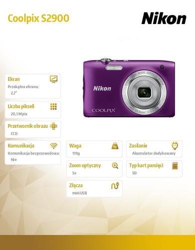 Nikon Coolpix S2900 fiolet 20,1M,5xOZ,720p