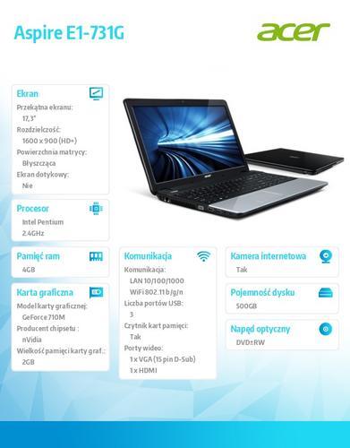 """Acer Aspire E1-731G 2020M/17.3""""HD+/GF710M 2G/4GB/500GB/BT/HDMI/USB3.0/SD reader/Cam/Win8/Black"""