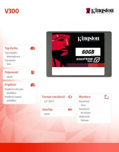 "Kingston V300 SERIES 60GB SATA3 2,5"" 450/450MB/s 7mm"