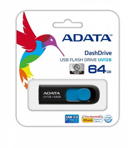 A-Data DashDrive UV128 64GB USB3.0 czarno - niebieski 90MB / 40MB