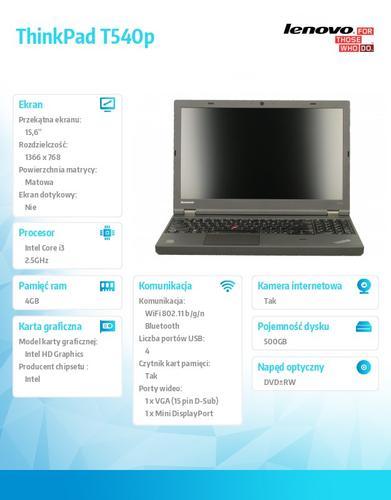 """Lenovo ThinkPad T540P 20BE00B3PB Win7Pro & Win8.1Pro 64-bit i3-4100M/4GB/500GB/Intel HD/DVD Rambo/6c/15.6"""" HD Led Backlit AG Black, WWAN Ready"""