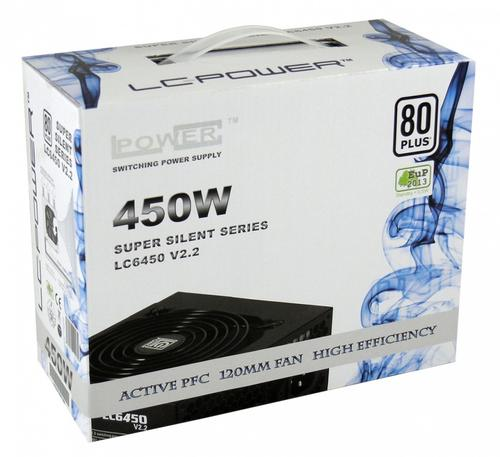 LC-Power ZASILACZ 450W LC6450 V2.2 80 PLUS 120mm 4x SATA 2x PATA 1x PCIe Active PFC Black