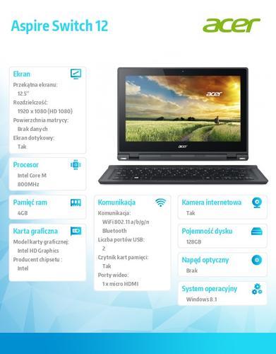 """Acer Switch SW5-271-698U 12.5""""FHD IPS Gorilla Glass 3/M-5Y10a/4GB/128GB SSD/HDMI/USB3.0/BT/36Wh 8h/1,45kg/Office 2013 Trial/Windows 8.1/keyboard"""