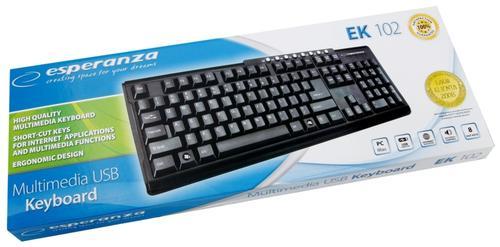 ESPERANZA Klawiatura multimedialna EK102, 8 dodatkowych klawiszy, USB