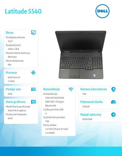 "Dell Latitude E5540 W78.1 (lic 64-bit Win8, nosnik) i5-4210U/500+8GB SSHD/ 4GB/HD4400/DVD-RW/6cell/3Y NBD/15'6"" HD"