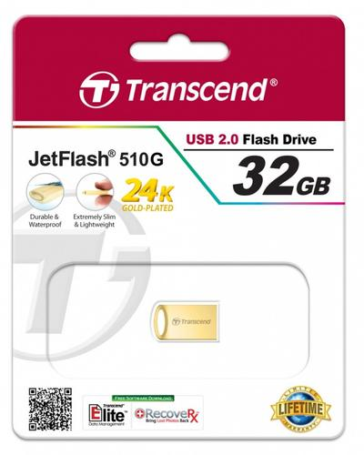 Transcend JETFLASH 510 32GB USB2 GOLD Metallic/Waterproof/Small