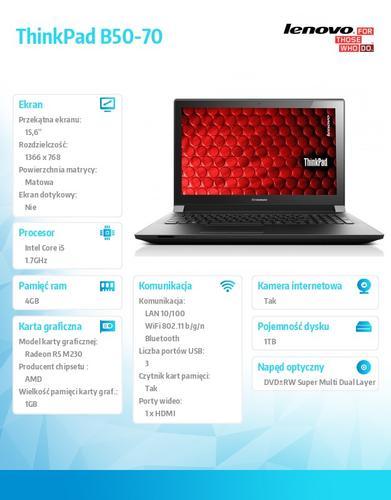 """Lenovo B50-70 59-439988 DOS i5-4210U/4GB/1TB/AMD Radeon R5 M230 1G/15.6"""" Black"""