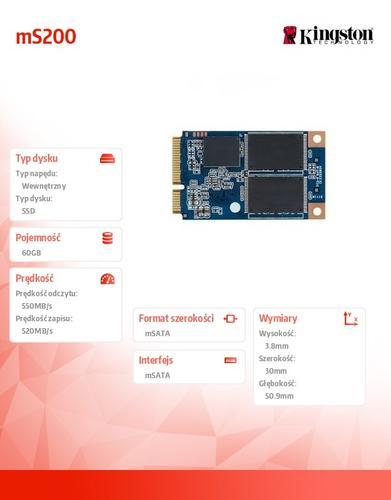 Kingston mS200 SERIES 60GB mSATA3 550/520 MB/s