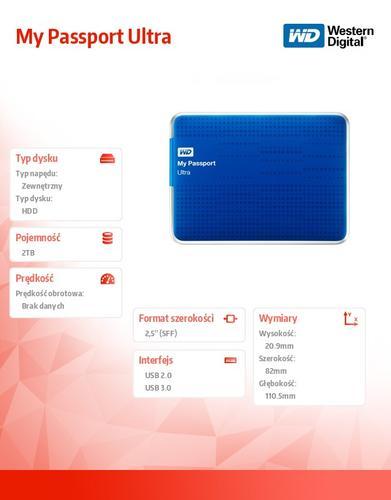 Western Digital Passport WDBMWV0020BBL 2TB 2,5'' USB 3.0 - niebieski