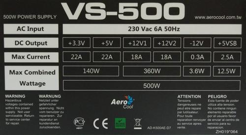 Aerocool VS 500W PFC ATX BULK bez kabla zasilającego
