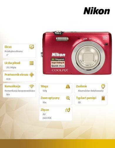Nikon Coolpix S6700 red 20,1M,10xOZ,720P