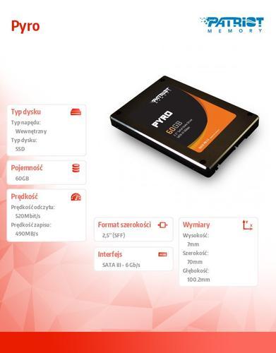 Patriot SSD 60GB 2,5'' Pyro 550/515 MB/s SATA3 TRIM 85k IOPs