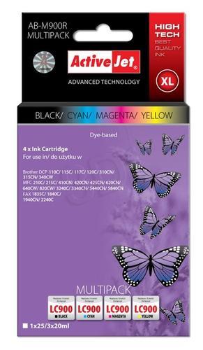 ActiveJet AB-M900R multipack tusz czarny, cyan, magenta, żółty do drukarki Brother (zamiennik Brother LC900) Premium