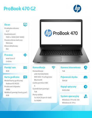 HP 470 G2 i7-5500U W78P 750/8G/DVDRW/17,3 K9J25EA