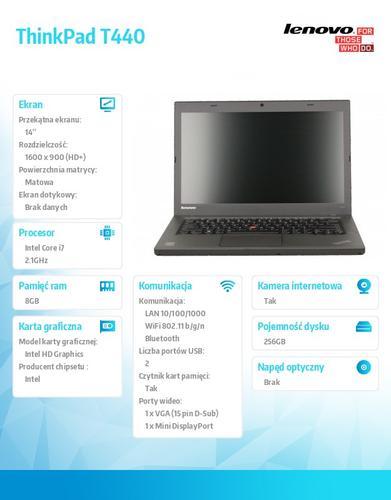 """Lenovo ThinkPad T440 20B7A15BPB Win7Pro & Win8.1Pro 64-bit i7-4600U/8GB/SSD 256GB/Intel HD/N-Optical/3c/14.0"""" HD+ Black, WWAN Ready"""