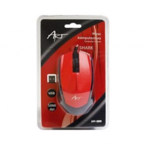 ART Mysz optyczna SHARK USB AM-88B czerwona