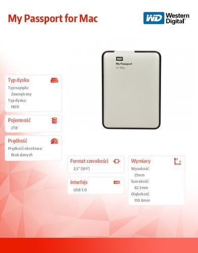 Western Digital Passport WDBZYL0020BSL 2TB 2,5'' USB3.0-srebrny