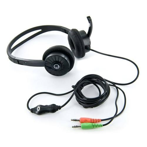 4World Słuchawki stereo nauszne z mikorfonem, czarne 08253