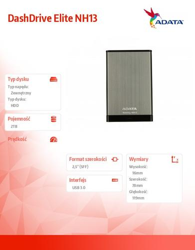 A-Data DashDrive Elite NH13 2TB 2.5'' USB3.0 Black