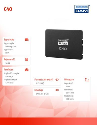 GoodRam C40 30GB SATA3 2,5 550/430 MB/s 7mm